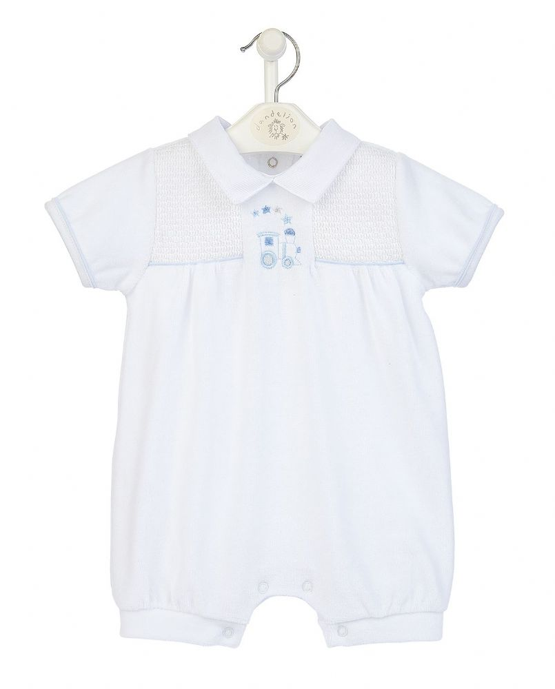 AV2434W Train Velour Smocked Romper